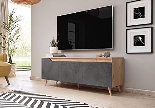 3xeLiving Soporte de TV de Buen Gusto Dlungi, 140 cm, Oro Blanco / hormigón Grafito