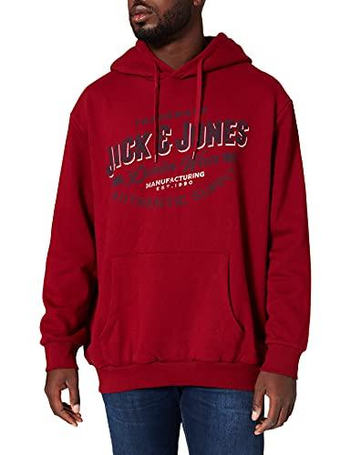 JACK & JONES PLUS JJELOGO Sweat Hood 2 COL 21/22 Noos PS Pullover, Red Dahlia, 4XL Homme
