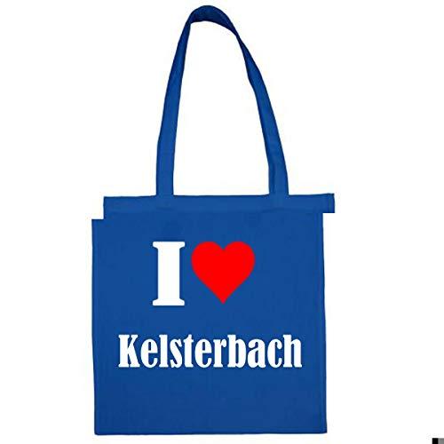 Tasche I Love Kelsterbach Größe 38x42 Farbe Grau Druck Schwarz