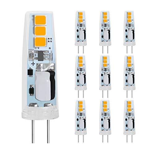 LEDGLE Bombilla LED G4 1.5W, Blanco Cálido 2700K, AC/DC 12V, 150LM Bombilla G4 LED Equivalente a 20W Bombillas Halógenas, Sin Parpadeo, No Regulable, Ángulo de haz de 360 °, Paquete de 10