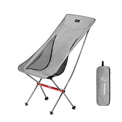 Naturehike Ultralight Folding Camping Chair High Back Lightweight Portable Compact Heavy Duty 300lbs for Adults & Kids, Backpacking, Hiking, Outdoor Camp, Travel, Beach, Picnic, Festival - Gray