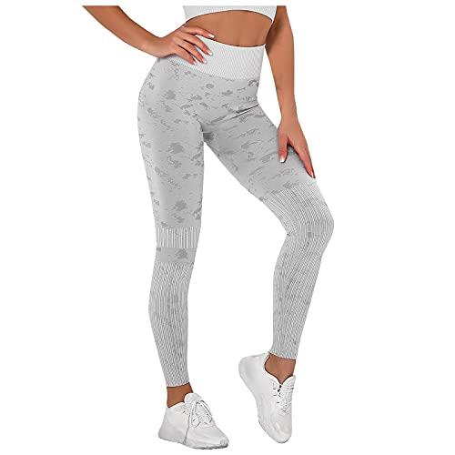 Pantalones Deportivos Mujer de Estampado Leggins Levantamiento de Cadera de Cintura Alta Pantalón Transpirables Elásticos Leggings de Deporte Fitness Mallas Ideal para Correr,Gym,Yoga y Pilates