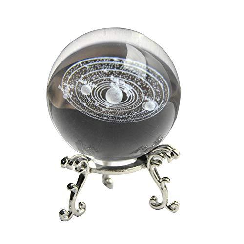 Proglam 3D-Solarsystem-Miniatur-Kristallkugel, graviert, Planeten-Modell, Heimdekoration, Geschenke