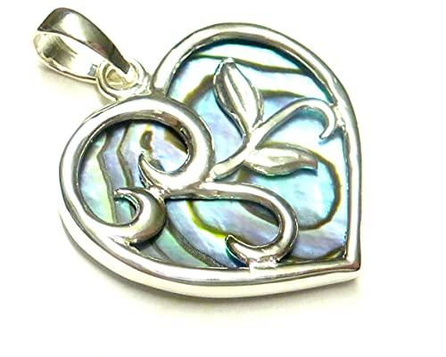 Anhänger Silber , Herzanhänger Ranke , mit Abalone Muschel, aus 925 Sterling Silber gearbeitet, Geschenk , Schmuck für Frauen