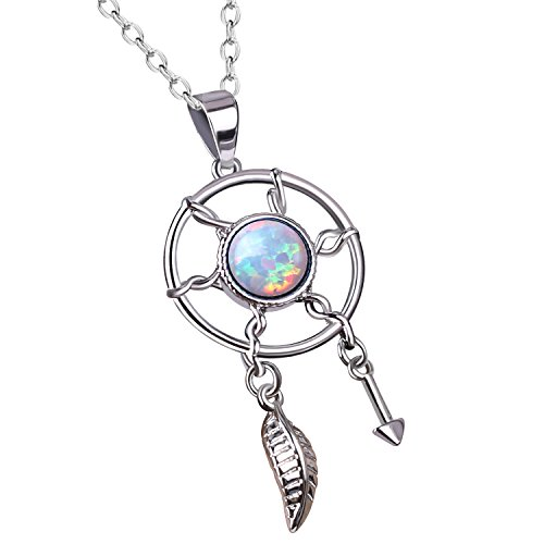 KKELITCH Initial Choker Necklace Dream Catcher Synthetic Opal Pendant Necklace with Leaf & Arrow (White)
