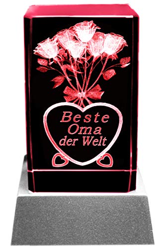 Kaltner Präsente Stimmungslicht LED Kerze/Kristall Glasblock / 3D-Laser-Gravur Motiv Blumen Beste Oma der Welt