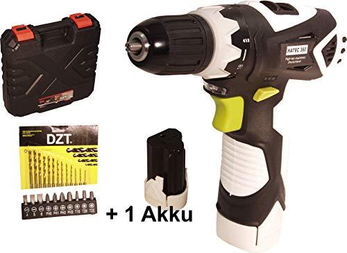 Akku Schrauber HATEC 360°,G6106, 2 Akku, 12V 1.5Ah, 30Nm, Koffer, 23tlg Zubehör in Box