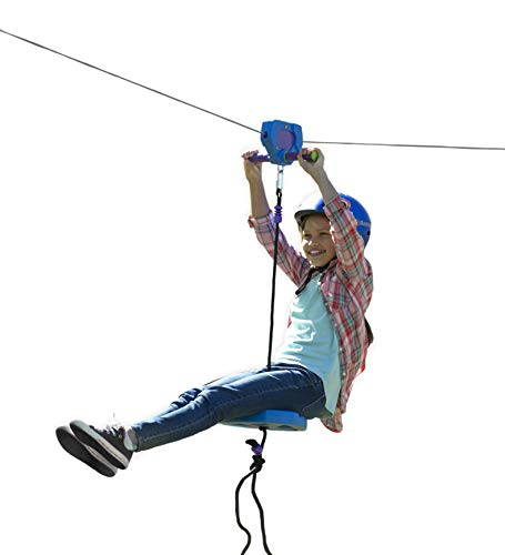 HearthSongHearthSong150-Foot Blue Zipline Kit for Kids - Adjustable and Removable Seat - Non Slip Carriage Handles and Rubber Brake - Backyard Playground Equipment - Approx. 150'L