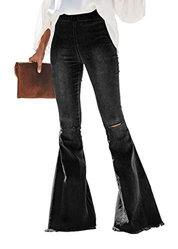 Feditch Women's Stylish Destoryed Flare Jeans Elastic Waist Bell Bottom Frayed Hem Holes Denim Pants Black Medium