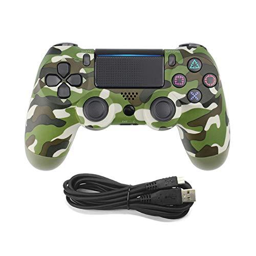 WEUN PS4 Controlador, Cable y Gamepad inalámbrico Antideslizante con Motores de Movimiento y función de Audio Mini indicador LED USB para Playstation 4 / Pro/Slim/PC (7/8 / 8.1/10),Natural