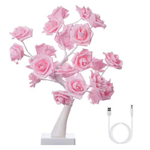TiKiNi Luz LED para árbol de rosas, para escritorio, bonsái, 24 luces LED, funciona con pilas, luz decorativa para sala de estar, dormitorio, día de San Valentín, lámpara de confesión