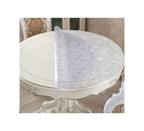 PageHar Runde tischdecke tischdecke transparent PVC wasserdichte tischdecke mit küchenmuster öl tischdecke Glas weich gänseblümchen 55 cm runde