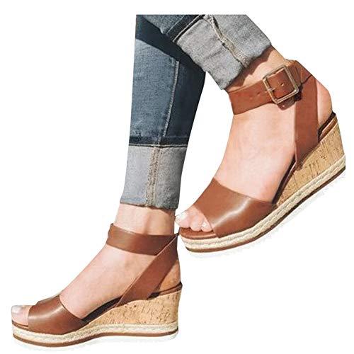 Women Ankle Strap Platform Wedges Sandals High Heel Wedge Sandals Dress Shoes Peep Toe Sandals