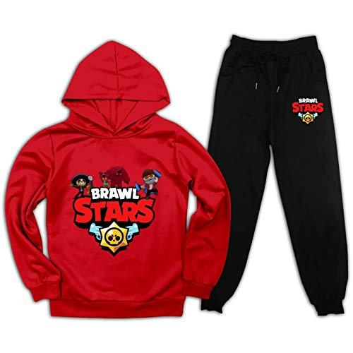 Bra-WL Stars Kinder Trainingsanzug-Sets Hoodie und Sweatpants 2 Stück Cool Sweatshirt Anzug für Jungen Mädchen Gr. XXL, rot / schwarz