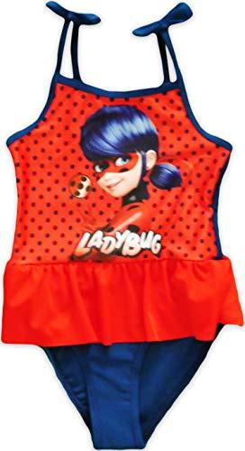 Miraculous Ladybug Bañador para Niña (6-7 Años (116/122 cm), Rojo/Azul Marino)