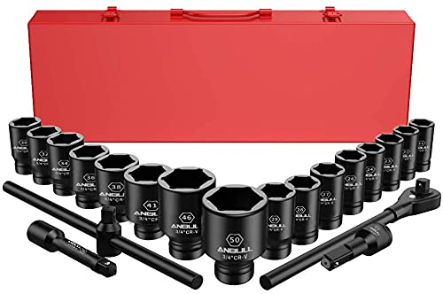 Anbull 21PCS Schlagschrauber Nuss Set, Impact Socket Set Steckschlüsselsatz, 3/4'' Stecknuss Adapter, Standardmetrische Größen (21-50 mm) | Cr-V Stahl-Steckschlüsselsatz