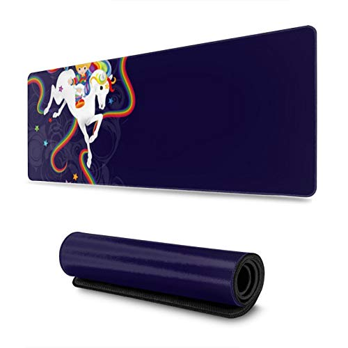 Rainbow Brite and Starlite Memories Premium Mouse Mat 11.8x31.5 in Non-Slip Rubber Base Mousepad for Laptop,Computer