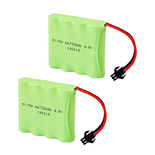 Makerfire 2PCS 4.8V 700mAh Battery Pack SM Connector for RC Car Replacement Battery