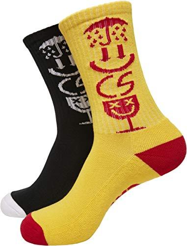 Cayler und Sons Unisex Iconic Icons 2-Pack Socken, Black/Yellow, 35-38