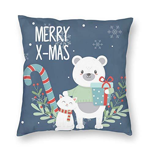 Nixboser Funda de almohada de poliéster azul con diseño de oso polar con caja de regalo, diseño de gato con hojas de Feliz Navidad, para sofá, sala de estar, cama, coche, 45,7 x 45,7 cm