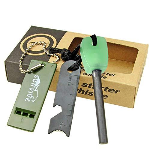 USIRIY Feuerstarter Outdoor Magnesium Strip Feuerzeug Stick-Set Feuerstein mit Whistle,Herrscher für Camping, Outdoor, Survival, Bushcraft