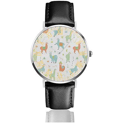Reloj de Cuero Alpaca Llama Reloj Plateado de Acero Inoxidable Relojes de Cuarzo Simples