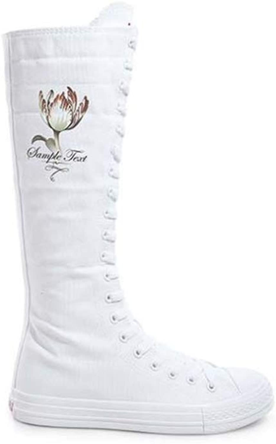 Fashion Ladies Girls Flower Canvas Boots Women Knee High Sneakers Causal Dance shoes