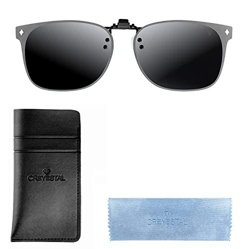 CREYESTAL Polarisiert Clip auf Sonnenbrillen, Sonnenbrille Aufsatz, Anhebbar und Ultraleicht , Herren, Damen 100{d7f3c2692fd0ceaba3c8f3e29b68544817335b0477f097700d4f165211b9f5b1} UV400, CE Zertifiziert