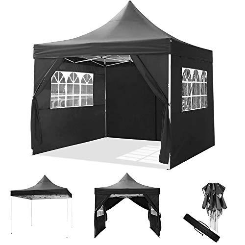 ROOJER Faltpavillon Wasserdicht Gartenpavillon Partyzelt 3x3m/3x6m Pavillon Festzelt mit 4 Seitenteilen für Garten/Party/Hochzeit/Picknick/Markt- Tragetasche inklusive (3 * 3M, Black)