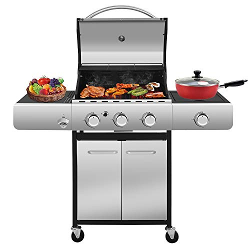 RMYHOME BBQ Liquid Propane Gas Grill Stainless Steel 34,000 BTU Patio Garden Barbecue Grill with Built in Thermometer, Removable Wheels (Three Burners)