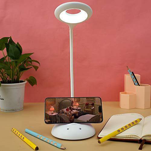 Lámpara de Escritorio LED con Soporte de Móvil Lámparas de Mesa USB Recargable y Plegable Protección para Ojos