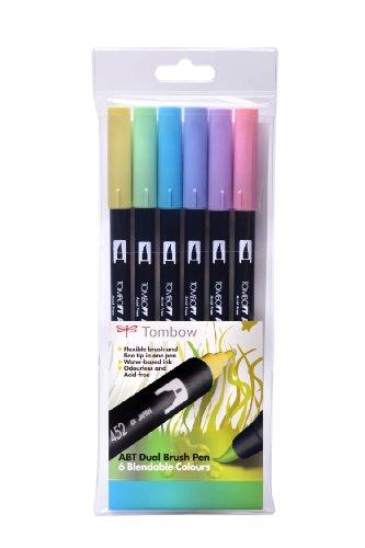 Tombow ABT - Pennarello con punta fine da un lato e punta a pennello dall'altro, confezione da 6, colori pastelli