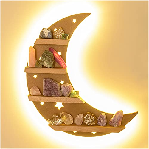 Curawood Crescent Moon Shelf for Crystals with LED Light - Showcase Your Crystals and Healing Stones - Lighted Crystal Holder for Stones Display - Wooden Crystal Shelf Display - Moon Shaped Wall Decor