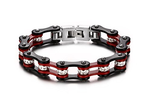 Vnox with Heavy Stainless Steel Men's Bike Chain Bracelet for Men – RED and Black