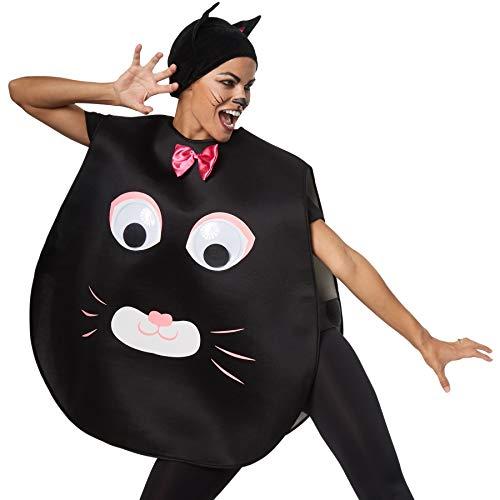 dressforfun 302191 - Unisex Kostüm Katze, Poncho in Einheitsgröße, Stoffmütze mit Spitzen Ohren
