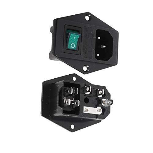 Aexit 2 x grüne Lampe Wippschalter Sicherungshalter IEC C14 Steckdose AC 250V (bf420075d9bb7a75b335b73d61f44abe)