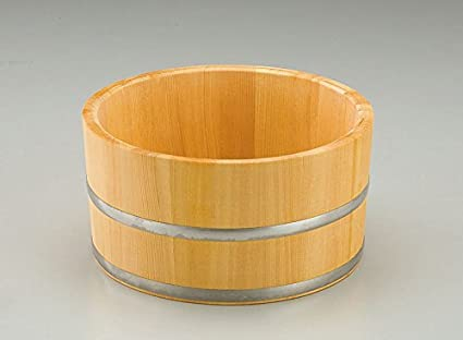 Yamako Natural Wood Made Japanese Bath Bucket Stainless Rail 12407