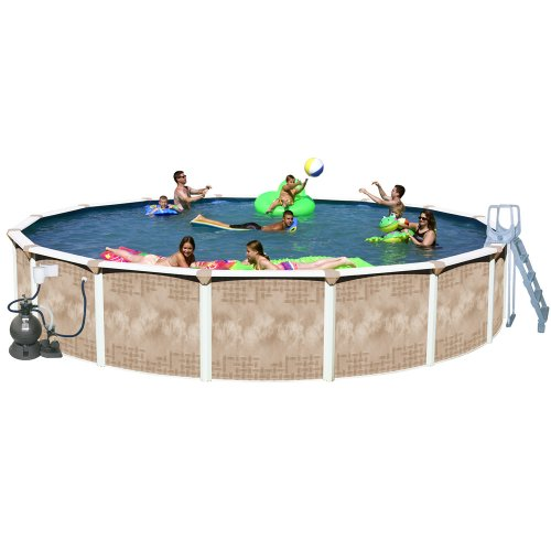 Splash Pools Round Deluxe Pool Package, 18-Feet by 52-Inch