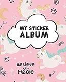 My Sticker Album: Blank Sticker Book for Collecting Stickers   Reusable Sticker Collection Album for Kids - Pink Unicorns Design (Sticker Albums for Kids)
