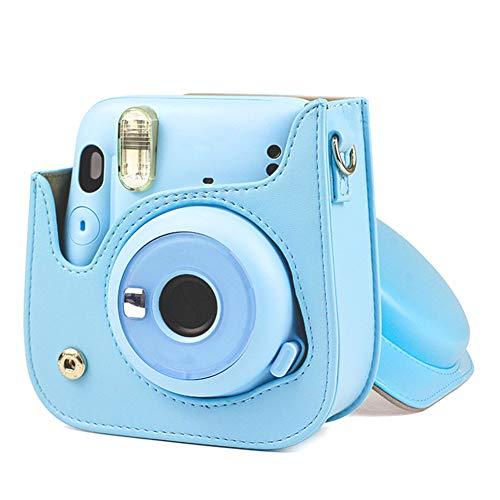 Jeankak Funda Protectora para cámara con Correa para el Hombro Funda de Cuero PU para Fujifilm Instax Mini 11 Camer Accesorios para Bolsa de cámara(Azul)