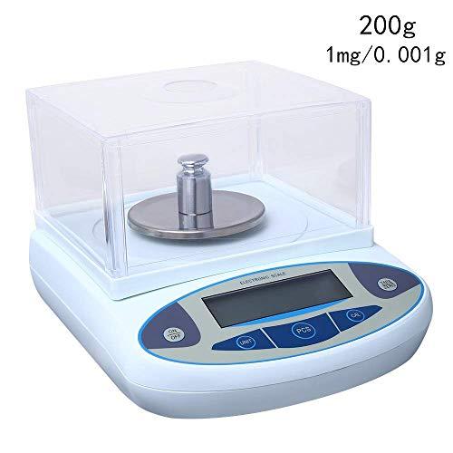 Hukoer Lab Digitale analyse-weegschaal, 1 mg precisie-elektronische sieradenweegschaal, 200g