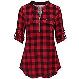 Blusa de manga larga para mujer, a cuadros, informal, elegante, con botones, rojo, S