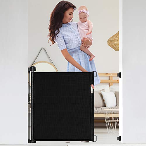 Retractable Baby Gate, 56-Inch Extra Wide Mesh Safety Gates, Durable Pet Dog Gate for The House, Indoor Outdoor Safety Baby Gates for Stairs, Doorways, Black