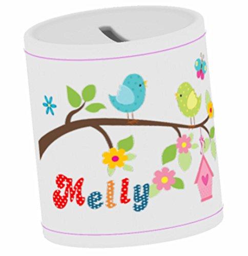wolga-kreativ Spardose Kinder mit Namen Vogel Familie Geldgeschenk Sparschwein Baby Geschenk Taufe Geburtstag Taufgeschenke für Mädchen Jungen Kinder Trinkgeldkasse Kaffeekasse Sparbüchse Taufgeschenk