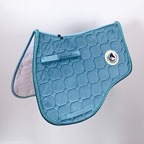 Merauno® Schabracke Velvet Dressur Schabracke Springen Satteldecke Schnelltrocknende Baumwolle Hochwertiges klassisches Design(VSS: M-53*50cm(L*B), Blaugrün)