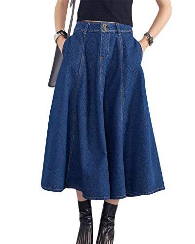 Donna Gonna di Jeans Gonna Lunga in Denim A Vita Alta metà Davanti Abbottonatura Gonna Denim Vestito Casuale Gonna Svasata Blu Marino L
