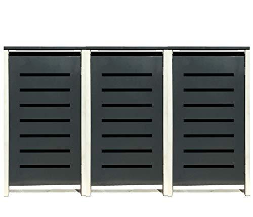 3 Tailor Mülltonnenboxen Basic Duo für 120 Liter Tonne/Stanzung 6 / Farbe RAL 7016 Anthrazit/Rahmen RAL 9006 hell Grau/Verschönern Sie Ihre unansehnliche Mülltonnen in Ihrem Hof und Garten!