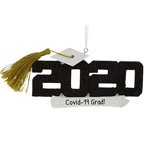 Personalized 2018 Grad Christmas Ornament for Tree - Black Glitter Lettering Word with Real Tassel - Dated Under-Graduation PhD Master Degree End New Girl Boy Congratulation - Free Customization