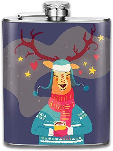 Flasche Nettes Ren mit Kaffeetasse Weihnachtsstainl-Stahl 7 Unze-Flachmann, groß für die Reise-Kreuzfahrt, die Bootfahrt wandert