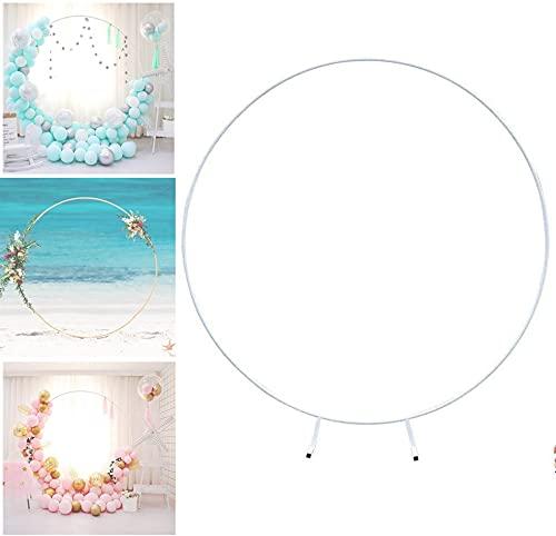 Anillo redondo de hierro forjado para decoración de boda, telón de fondo para césped, flores artificiales de seda, para decoración de boda, Navidad, fiesta de bebé (blanco: blanco, tamaño: 1,5 m)